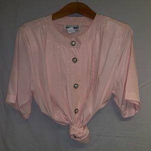 Beautiful Pink Satin Vintage Dress Shirt